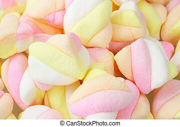 Marshmallow candies - Close up of colorful soft marshmallow...