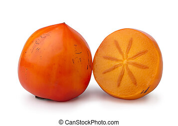 ripe persimmon, a whole fruit and a half, isolated on white
