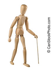 wooden toy man symbolism of blind man, walking with a white...