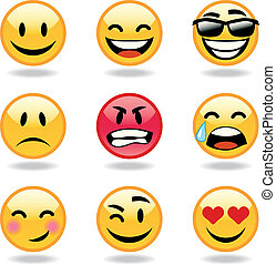 Set of nine smileys - Set of cool emoticons. Vector...