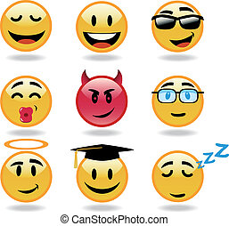 Set of vector cool smiles - Set of cool smiles. Vector...