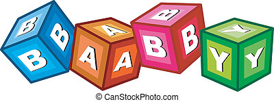 baby blocks - childrens alphabet blocks spelling the word...
