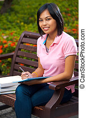 Cute Asian Student Campus Bench Studying - A cute college...