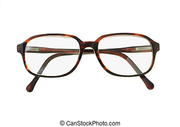 Old fashion plastic rim spectacles on white background