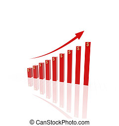 3d growing business chart