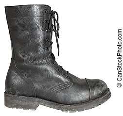 military boot - used leather military boot isolated on white...