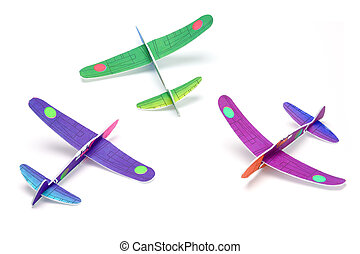 Styrofoam toy aeroplanes - Three Styrofoam toy aeroplanes on...
