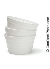 Styrofoam bowls stacked together on white background