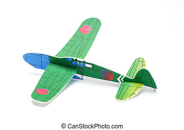 Styrofoam toy aeroplane on white background
