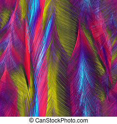 Abstract bright feathers of birds - Seamless. Abstract...