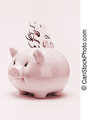 Piggy bank and jigsaw puzzles financial disarray