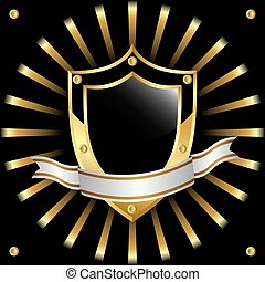 Black and gold. - Black and gold shield on a black...