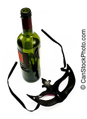 Wine Bottle - Wine Bottle and Carnival Mask isolated on...