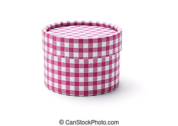 Round gift box - Chequer round gift box on white background