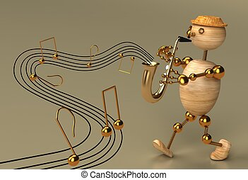 Musician wood man 3d rendered