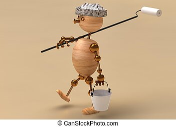 House painter wood man 3d rendered
