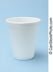 White Styrofoam cup on seamless background