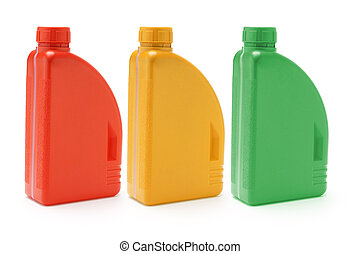 Motor oil containers - Three color containers of motor oil...