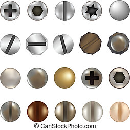Bolts And Screws, Isolated On White Background, Vector...