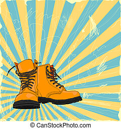 boots - hand-drawn boots on a grungy background
