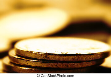 coins background macro close up