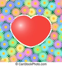 Background with red hearts and flowers - Valentines day...