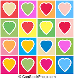 Background with multicolor hearts on grid - Valentine's day...