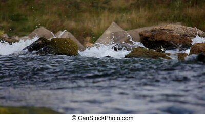 Water and stone on small river