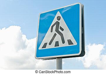 "Crosswalk road sign - ""Crosswalk"" road sign against the blue..."