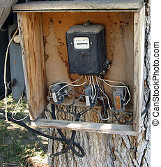 electricity meter - old electricity meter with the wires...