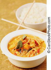 Delicious Thai curry - Delicious thai curry with shrimps and...