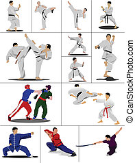 Wushu. KungFu.The sportsman in a position. Oriental combat...