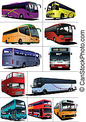 Eleven kinds of City buses Tourist coach Vector illustration...
