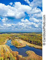 Autumnal forest. - Autumnal forest, river and sky (view from...