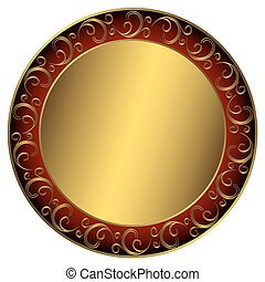 Golden-red-black frame with vintage ornament on white vector...