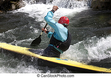 kayaker maneuvering at river treska ,in canyon Matka...