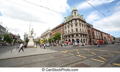 Brisk crossroads in Dublin city center - Brisk crossroads in...