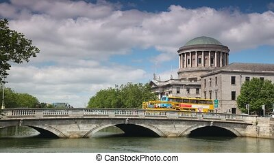 Transport moves on the bridge, summer day. Dublin, Ireland.