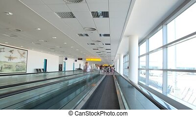 Travelator in Ruzyne - Prague Airport - PRAGUE - JULY 13:...