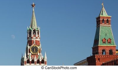 Tower at Red Square in Moscow, Russia. Time lapse. Moon...
