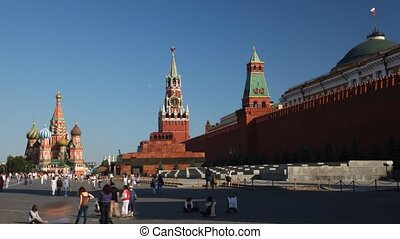 Tourists on Red Square. - Tourists on Red Square in summer...