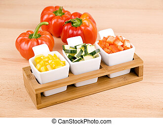 Healthy snack - fresh vegetable - Fresh choped paprika and...