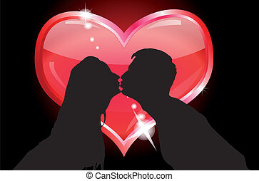 Silhouettes of lovers kissing on the background of the heart