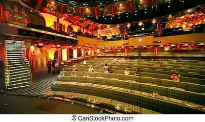 concert hall with tables, panning