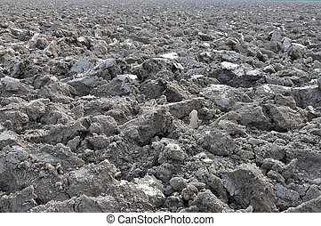 sunny clods near po river #2 - sunny grey clods in ploughed...