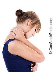 Neck pain - Woman holds a hand on pain neck. Isolated on...