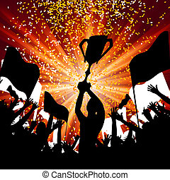 Huge Crowd Celebrating Soccer Game EPS 8 vector file...