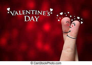 Finger Hug on Valentine's day theme - Painted finger smiley,...