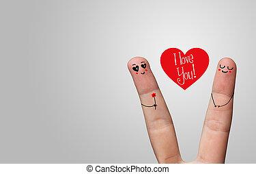 heureux, doigt, étreinte