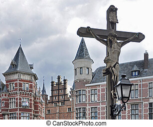 Crucifixion Statue - statue of Jesus - Crucifixion against...